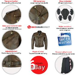 Leather Brando Motorbike Jacket Marlon Biker Motorcycle With CE Armour Protect