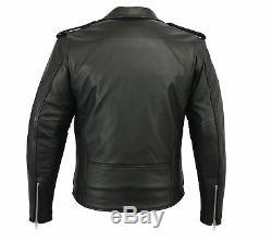 Leather Brando Motorbike Jacket Mens Black Marlon Leather Motorcycle Armoured