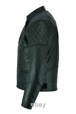 Leather Brando Motorcycle Jacket Diamond Motorbike Perfecto Biker With CE Armour