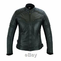 Leather Womens Motorbike Jacket With Armour Black Motorcycle Touring Biker CE