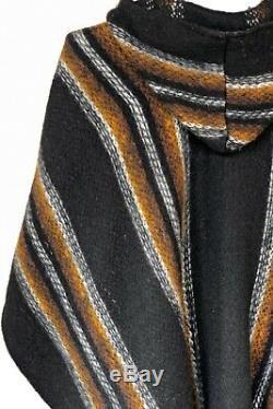 Llama Wool Mens Womans Unisex South American XXL Poncho Cape Coat Jacket Cloak
