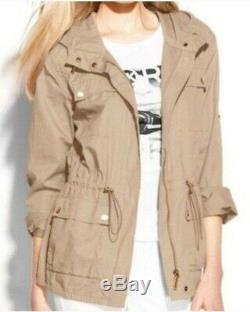 MICHAEL KORS Womens Sz M Khaki Lightweight Hooded Anorak Jacket 100% Cotton