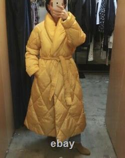 MISSONI X SAVE THE DUCK NWT Yellow Nylon Oversized Long Tie Coat Jacket XS