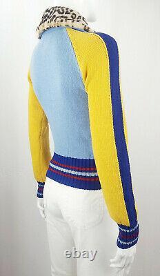 MISS SIXTY 60 Women Sweater Wool Knit Rib Jacket Zip Raglan Argyle Multicolor S