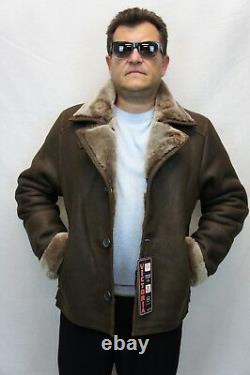 Men 100% REAL SHEEPSKIN SHEARLING LEATHER Car Coat Bomber Jacket S-5XL, TAUPE
