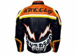 Men Cowhide Biker Leather Jacket /Hdmm Mickey Rourke's Jacket for men