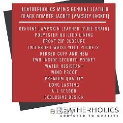 Men Real Leather Bomber Jacket Black Mens Genuine Lambskin Varsity Jacket Coat