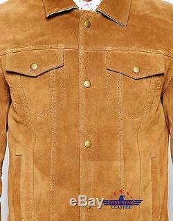 Men TRUCKER Tan Suede Classic Retro Western Denim Style Real Hide Leather Jacket