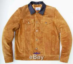 Men TRUCKER Tan Suede Classic Western Denim Style Leather Jacket Brown Collar