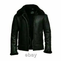 Men's Aviator RAF B3 Black Bomber Fur Shearling Collar Sheepskin Leather Jacket