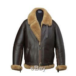 Men's Aviator RAF B3 Ginger Original Leather Sheepskin Bomber Flying Jacket