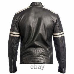 Men's Biker Vintage Style Cafe Racer Retro Distressed Leather Jacket /US Seller