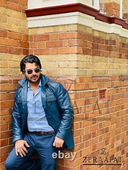 Men's Blazer Coat Jacket Sheepskin Leather 100% Genuine Leather by ZERAAFAT