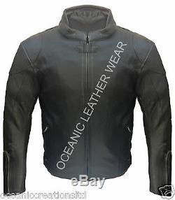 Men's CE Armoured Motorcycle Motorbike Genuine Cowhide Leather Racing Jacket
