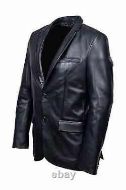 Men's CLASSIC BLAZER Black Z120 Tailored Soft Real Napa Leather Jacket Coat