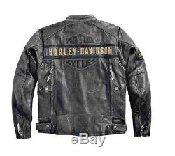 Men's Classic Harley Davidson Passing Link Distressed Leather Motorcycle Jacket