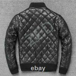 Men's Genuine lambskin quiltted Leather bomber Top Fit Leather Jacket Black