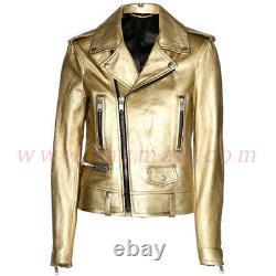 Men's Golden MOTOR BIKER Genuine SHEEP GOLD Leather Jacket Lambskin Slim Fit