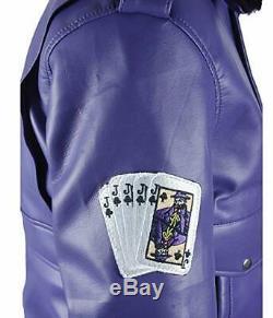 Men's Henchman Goon Purple Bomber Faux Fur Collar Jacket New Arrival