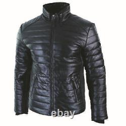Men's Original Leather Genuine Quilted Puffer Zipped Jacket Black Casual 2020