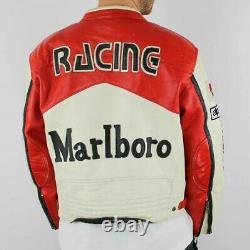 Men's Rare Marlboro Formula Racing McQueen Leather Jacket Motorcycle