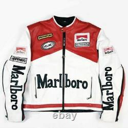 Men's Rare Marlboro Formula Racing McQueen Motorcycle Real Leather Jacket Biker