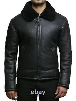 Men's Real Sheepskin Leather Flight Aviation Black/Brown/Cream Bomber Jacket