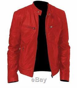Men's Vintage Cafe Racer Genuine Black Brown Red Leather Slim Retro Biker Jacket
