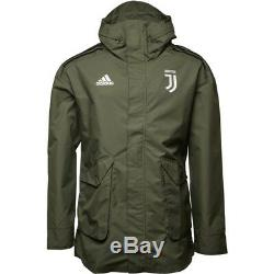 Mens 18/19 Adidas Juventus Hooded Rain Jacket Coat Parka Khaki Olive Black