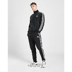 Mens Adidas Full Tracksuit Bottoms Zip Jacket Black Trousers Pants M L XL Set