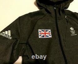 Mens Adidas Team GB Travel Jacket Grey Winter Warm Hoodie Duffle Coat Olympics S