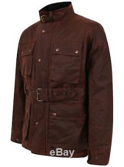Mens Antique Waxed Cotton Motorcycle Jacket Coat Biker Wax Belted Coat Lewis Cre