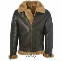 Mens Aviator Ginger Bomber Flying Genuine Sheepskin Leather Jacket