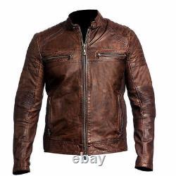 Mens Biker Vintage Distressed Brown Cafe Racer Leather Jacket