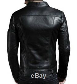 Mens Black Brown Real Leather Jacket Vintage Slim Fit Retro Jacket Genuine New