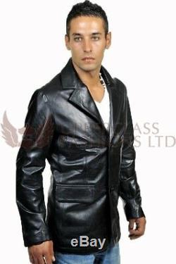 Mens Black Italian Leather Blazer Jacket