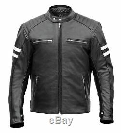Mens Brando Style Motorbike Motorcycle Leather Jacket with CE Removable Armours