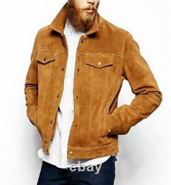 Mens Brown Trucker Western Style Vintage Slim Fit Genuine Suede Leather Jacket