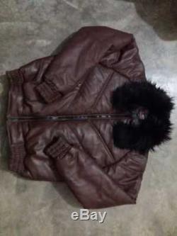 Mens Bubble V Bomber Leather Jacket Fox Fur Collar Leather Jacket