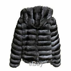 Mens Chinchilla Fur Coat with Hood Bomber Jacket Zipper Closure Reversible