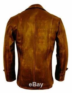 Mens Distressed Brown Biker Real Coat Motorcycle Sheepskin Leather Jacket Retro