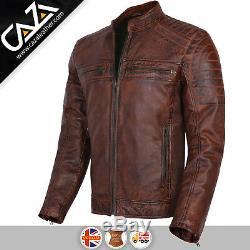 Mens Genuine Leather Biker Jacket Vintage Cafe Racer Brown Slim Fit Jacket S-3XL
