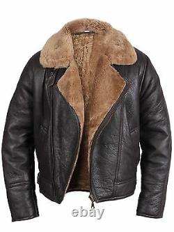 Mens Genuine Sheepskin World War Flying Cockpit B3 Black Bomber Leather Jacket