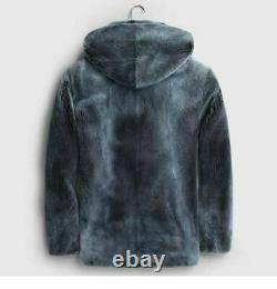 Mens Hooded Mink Fur Coat Blue Jean Color SAGA Mink Fur Coat