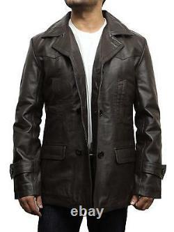 Mens Leather Jacket German Marine Double Breasted Vintage Black/Brown Pea Coat