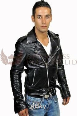 Mens Marlon Brando Belted Biker Leather Cowhide Motorcycle Jacket (S-5XL)