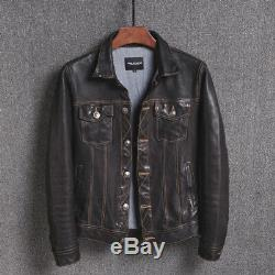 Mens Motorcycle Vintage Racer Retro Distressed Black Leather Biker Jacket