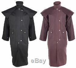 Mens Oil Cloth Oilskin Western Australian Drover Waterproof Duster Coat Jacket