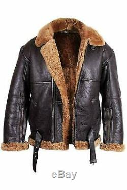 Mens RAF Brown Bomber Pilot Aviator B3 Flying Real Sheepskin Leather Jacket