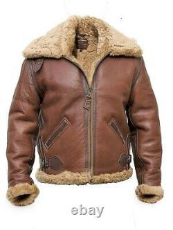 Mens RAF Pilot Flying Fur Brown Bomber Leather Jacket Black Sheepskin Aviator
